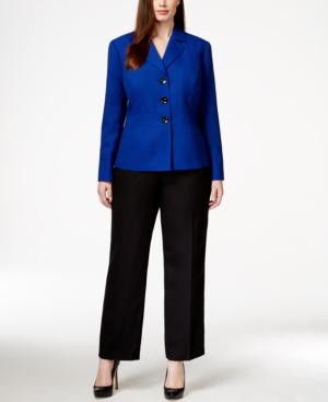 Le Suit Plus Size Three-Button Jacket Pantsuit