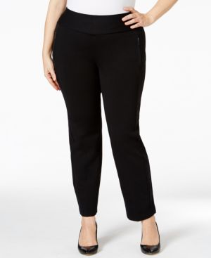 Style & Co. Plus Size Straight-Leg Pull-On Pants, Only at Macy's