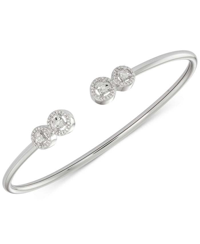 Wrapped Diamond Cluster Bangle Bracelet (1/6 ct. t.w.) in Sterling Silver, Created for Macy's & Reviews - Bracelets - Jewelry & Watches - Macy's