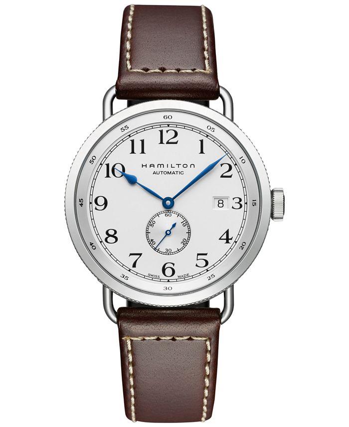 Hamilton - Men's Swiss Automatic Khaki Navy Pioneer Brown Calf Leather Strap Watch 40mm H78465553