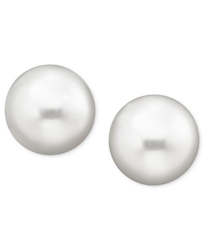Belle de Mer - Pearl Earrings, 14k Gold Cultured Freshwater Pearl Stud Earrings (10mm) (Also Available in Pink Cultured Freshwater Pearl)