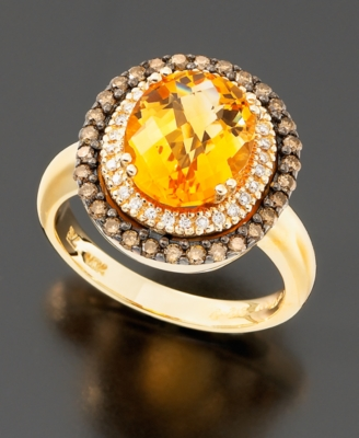 Le Vian 14k Gold Citrine (2-3/4 ct. t.w.) & Chocolate Diamond (1/2 ct. t.w.) Oval Ring