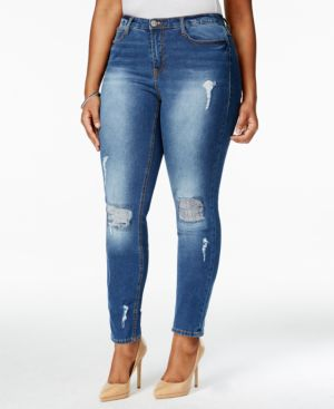 Junarose Plus Size Ripped Medium Blue Wash Skinny Jeans