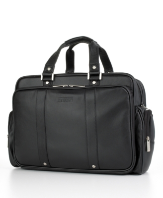 "Kenneth Cole Reaction ""Fifth Avenue"" Leather Expandable Double Gusset Portfolio/Computer Case"