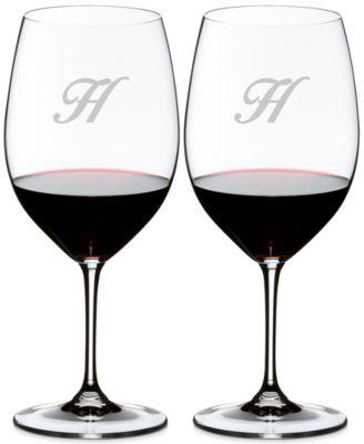 Vinum Monogram Collection 2-Pc. Script Letter Cabernet/Merlot Wine Glasses