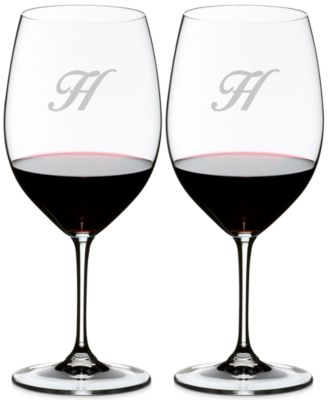 Riedel Vinum Monogram Collection 2-Pc. Script Letter Cabernet/Merlot Wine Glasses