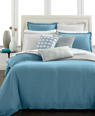Hotel Collection Linen Turquoise Full/Queen Duvet Cover, Only at Macy's
