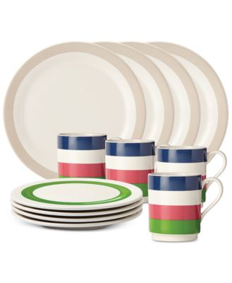kate spade new york all in good taste Striped 12-Pc. Set, Service for 4