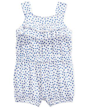 First Impressions Baby Girls' Dot-Print Ruffle Romper, Only at Macy's