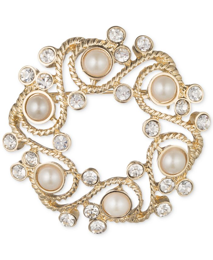Anne Klein - Gold-Tone Imitation Pearl and Crystal Wreath Pin