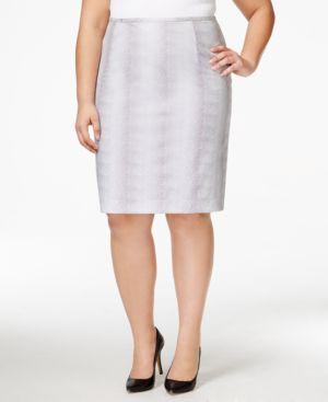 Calvin Klein Plus Size Printed Pencil Skirt