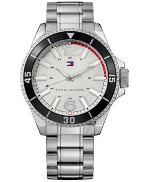 Tommy Hilfiger Men's Essential Silver-Tone Mixed Metal Bracelet Watch 1790749