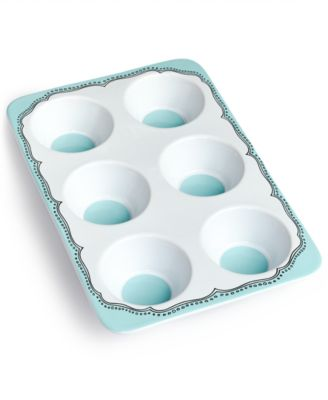 Martha Stewart Collection Whim Mint Embroidery Ceramic Muffin Pan, Only at Macy's