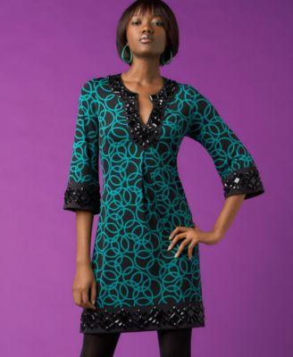 INC Beaded Henley Dress