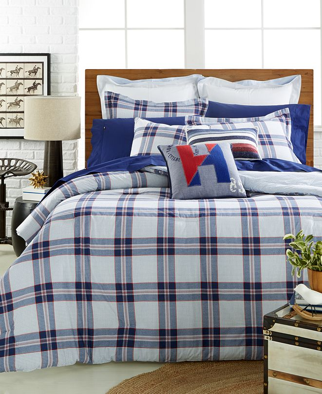 Tommy Hilfiger CLOSEOUT! Surf Plaid Full/Queen Comforter ...