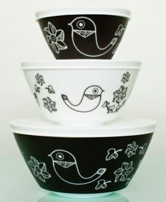 Vintage Charm inspired by Pyrex Birds of a Feather 6-Pc. Mixing Bowl Set