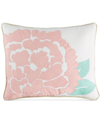 "CLOSEOUT! Martha Stewart Collection Village Peony Crewelwork 16"" x 20"" Decorative Pillow, Only at Macy's"