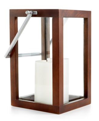 Home Design Studio Large Wood Candle Holder Lantern