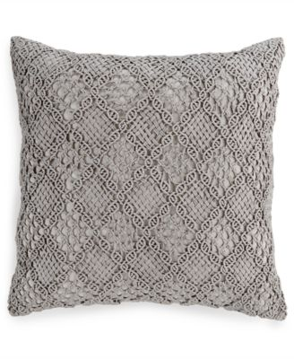 "Hotel Collection Linen Fog Embroidered 20"" Square Decorative Pillow, Only at Macy's"