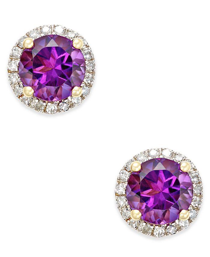 Macy's - Amethyst (1-1/2 ct. t.w.) and Diamond (1/6 ct. t.w.) Stud Earrings in 14k Gold