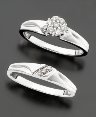 Women's 14k White Gold Diamond 2-Piece Bridal Set (1/5 ct. t.w.) - Wedding Rings