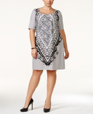 Love Squared Trendy Plus Size Printed Elbow-Sleeve Sheath Dress