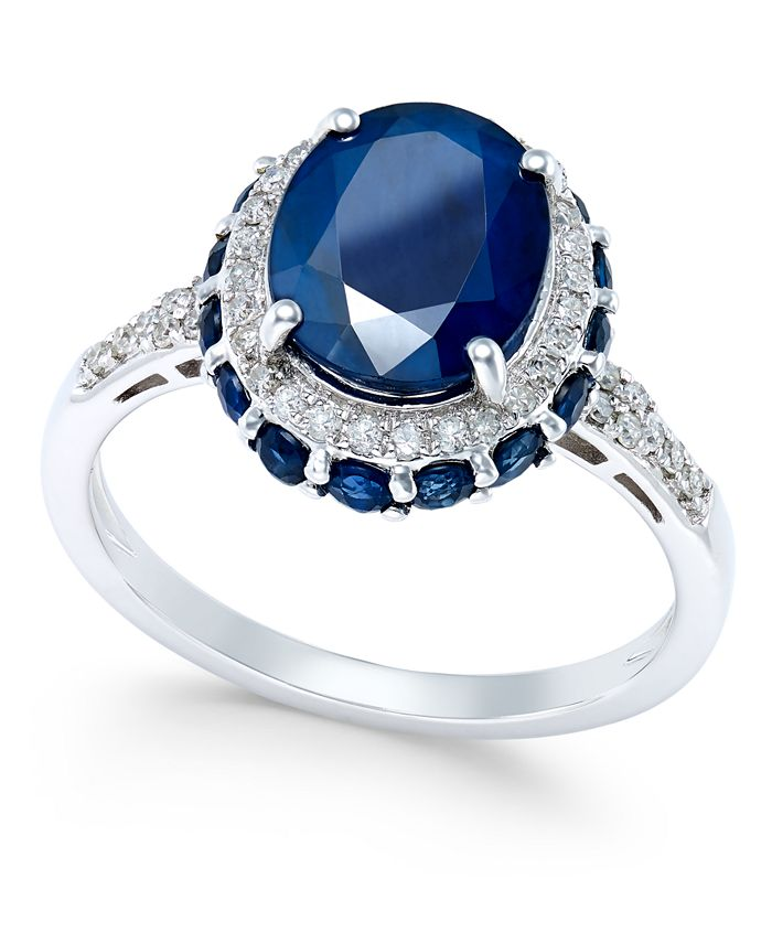 Macy's - Blue Sapphire (4 ct. t.w.) and White Sapphire (1/3 ct. t.w.) Oval Ring in 10k White Gold