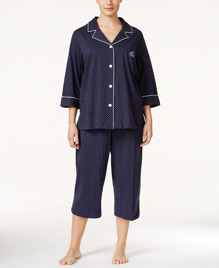 Lauren Ralph Lauren - Plus Size Button-Front Top and Pants Pajama Set