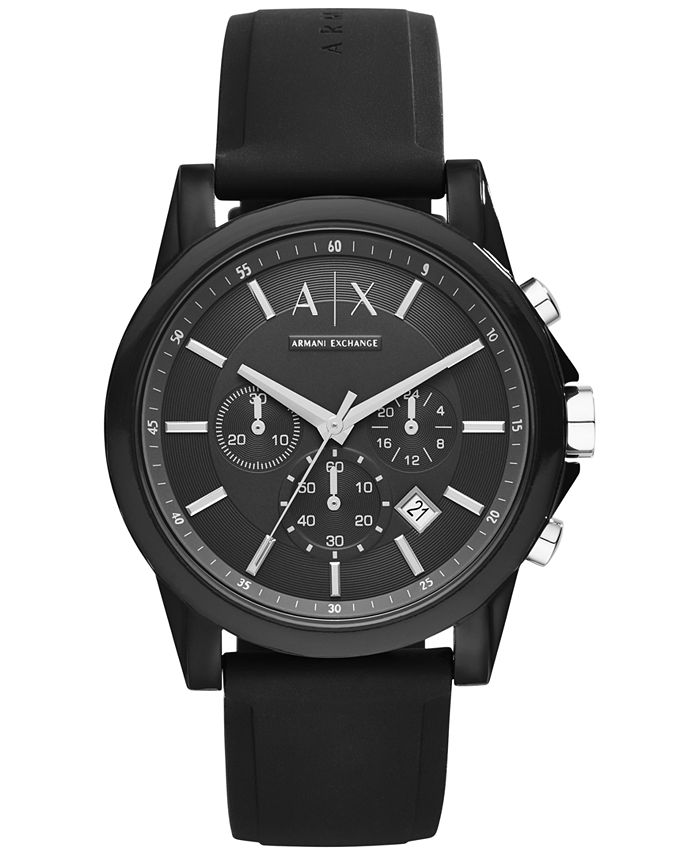 A|X Armani Exchange - Unisex Chronograph Black Silicone Strap Watch 44mm X1326