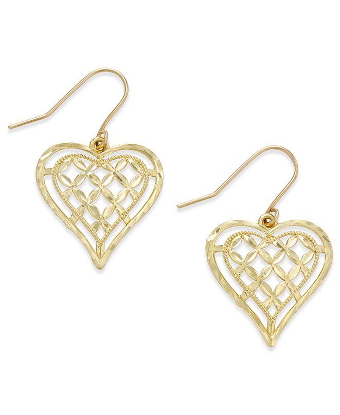 Macy's Openwork Heart Drop Earrings in 10k Gold