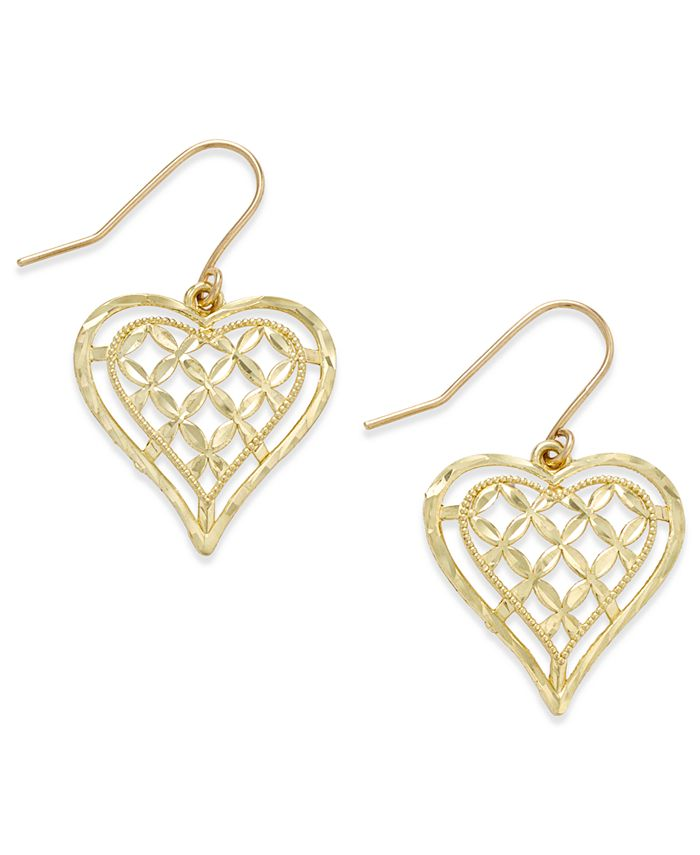 Macy's - Openwork Heart Drop Earrings in 10k Gold