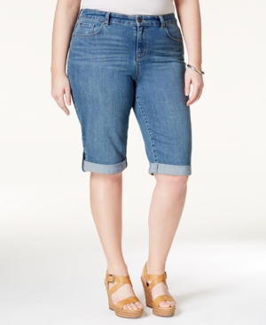 Style & co. Plus Size Shorts, Ex-Boyfriend Bermuda Denim, Sea Glass Wash
