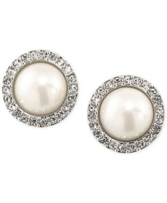 Carolee Silver-Tone Imitation Pearl Crystal Button Earrings