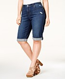 Style & Co. Plus Size Distressed Normandy Wash Denim Bermuda Shorts Only at Macys