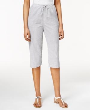 Karen Scott Seersucker Capri Pant Only at Macy's plus size,  plus size fashion plus size appare