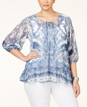 Style & Co. Plus Size Printed Layered-Look Top, Only at Macy's