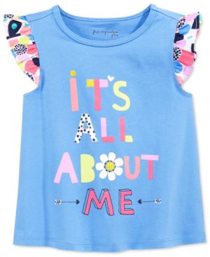 First Impressions Baby Girls' It's All About Me Flutter-Sleeve T-Shirt, Only at...
