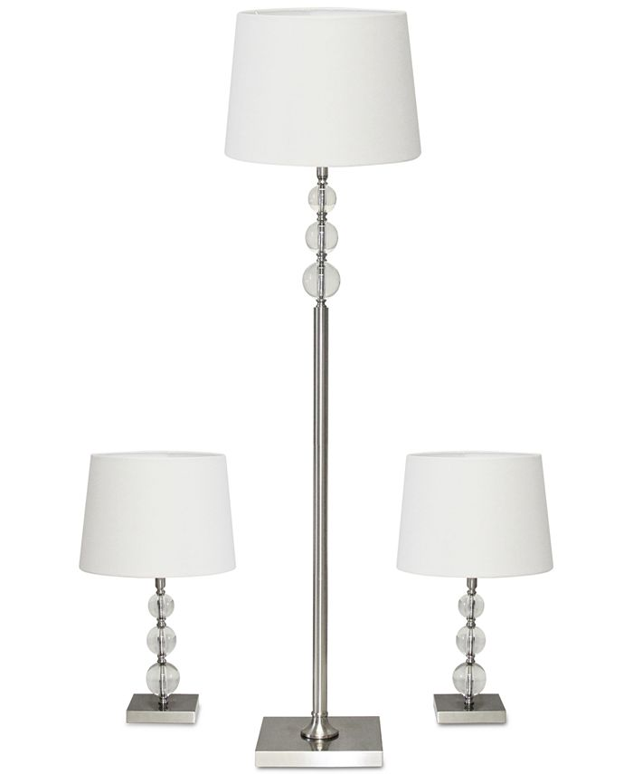 Adesso - 3-Pc. Metal and Crystal Lamp Set