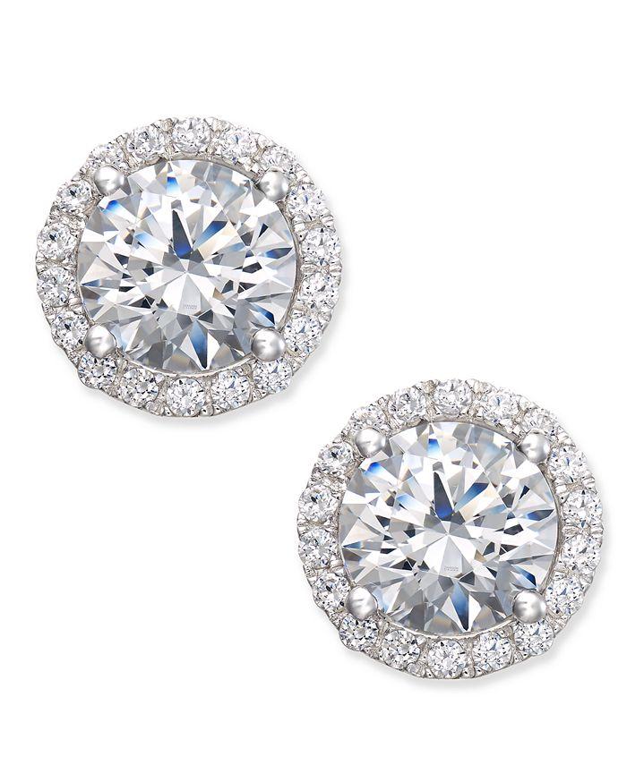 Arabella - Swarovski Zirconia Halo Stud Earrings in Sterling Silver