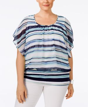 Style & Co. Plus Size Striped Chiffon-Overlay Flutter-Sleeve Blouse, Only at Macy's