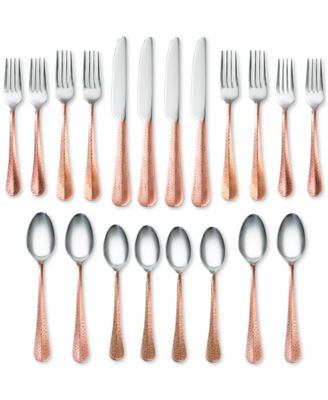 Indira by Cambridge Jessamine Hammered Copper 20-Pc. Flatware Set, Service for 4