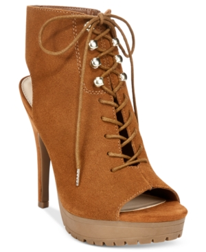 Bar Iii Emiko Lace-Up Suede Heels, Only at Macy's Women's Shoes