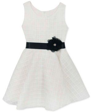 Rare editions little girls windowpane organza dress