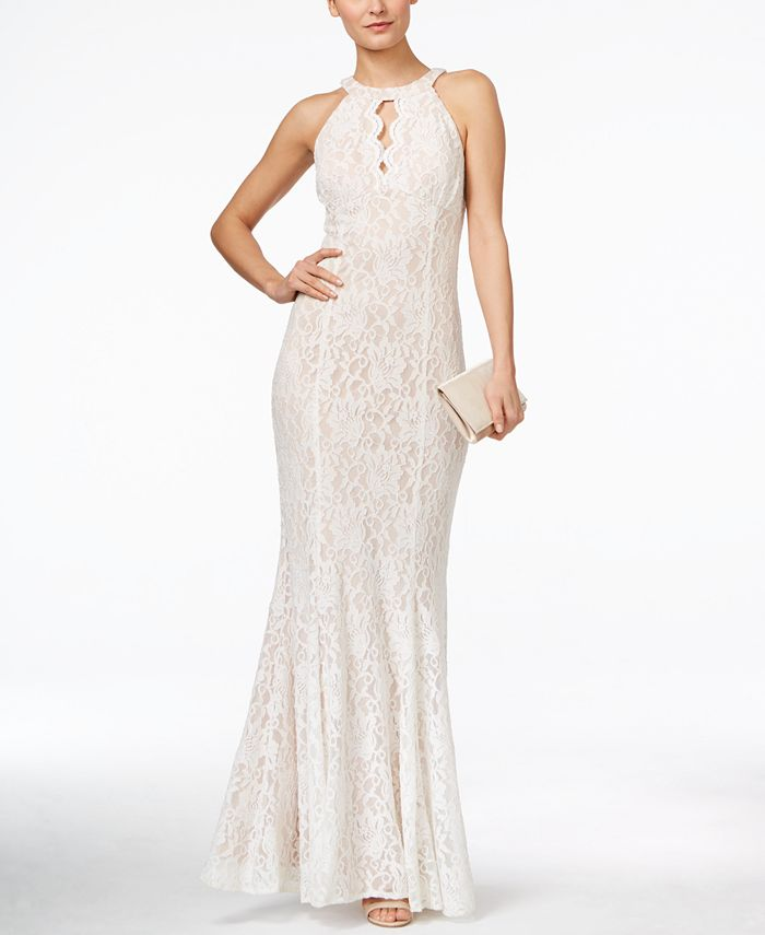 Nightway - Lace Keyhole Halter Gown