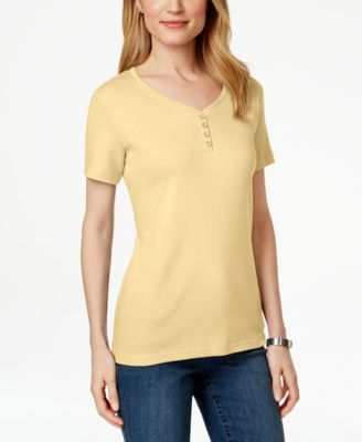 Image of Karen Scott Henley T-Shirt, Only at Macy's