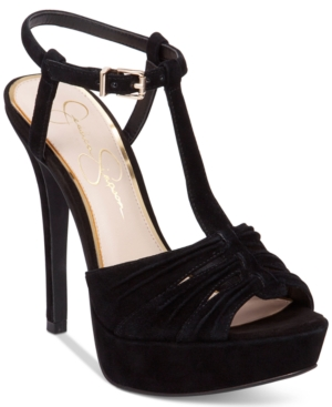 Jessica Simpson Bassie Ruched T-Strap High-Heel Platform Sandals Women's Shoes