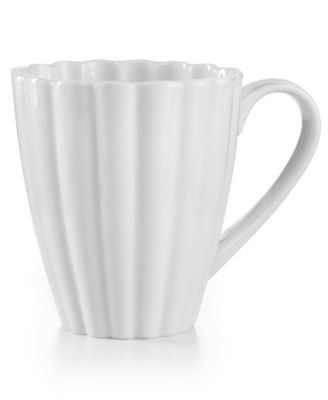 Martha Stewart Collection Whiteware Fleur Dinnerware Collection Mug, Only at Macy's