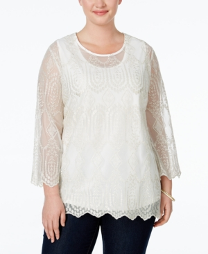 Edwardian Style Blouses American Rag Trendy Plus Size Embroidered Blouse Only at Macys $24.99 AT vintagedancer.com