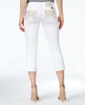 Miss Me Embellished White Wash Capri Jeans