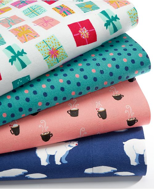Martha Stewart Collection Closeout Holiday Cotton Flannel Sheet Sets Created For Macy S Reviews Sheets Pillowcases Bed Bath Macy S